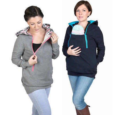 3 in 1 Maternity Pregnancy  Hoodie Pregnant Carry Baby Sweatshirt Mom Zipper Coat