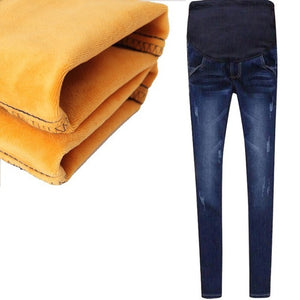 Maternity Jeans For Pregnant Women Pregnancy Winter Warm Jeans Pants Maternity Clothes For Pregnant Women Nursing Trousers