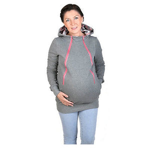 IMC Woman's New Fashion Autumn Style Maternity Pregnancy Hoodies Carry Baby Sweatshirt Mom Zipper Coat(Light Grey,S/US-4/UK-8)