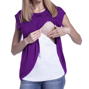 Women's Maternity Nursing Wrap Top Cap Sleeves Double Layer Blouse T Shirt