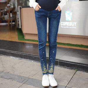 2018 Spring Maternity Jeans Pants Fashion Hot Beads Maternity Pants Pregnant