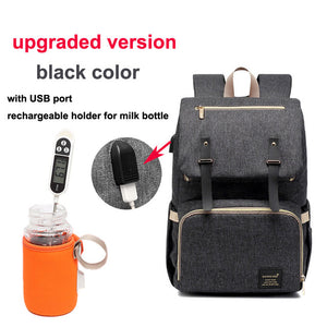 Diaper Bag USB Baby Nappy Bag Mummy Daddy Backpack Large Capacity Waterproof Casual Laptop Bag Rechargeable Holder for Bottle