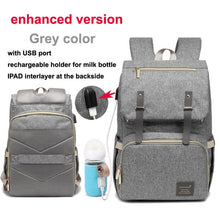 Load image into Gallery viewer, Diaper Bag USB Baby Nappy Bag Mummy Daddy Backpack Large Capacity Waterproof Casual Laptop Bag Rechargeable Holder for Bottle