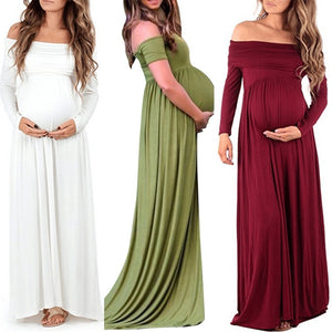 New Autumn Women Long Sleeve Casual Loose Sexy Off Shoulder Full length Dress Maternity Dress