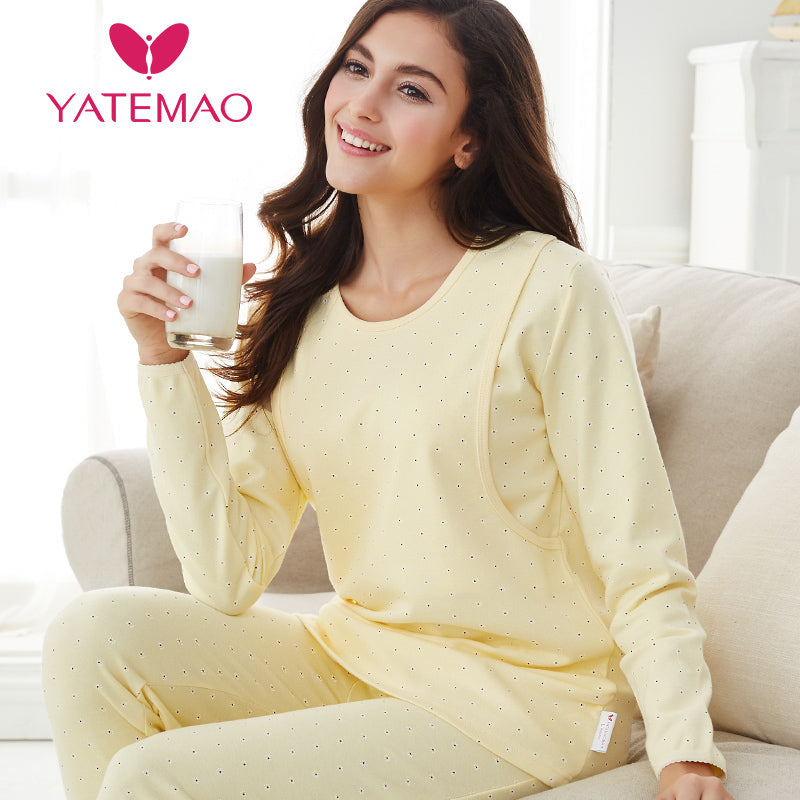 YATEMAO Nursing Clothes Maternity Pajamas Cotton Pregnant Pajama Set Maternity Long Sleeve Tops&Pants Winter Sleepwear Nightgown