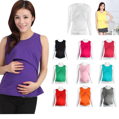 Pregnant Maternity Clothes Nursing Tops Breastfeeding Vest T-Shirt