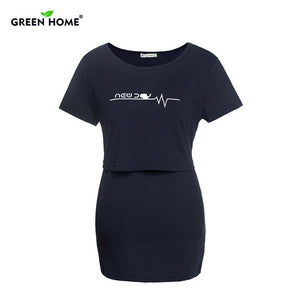 Green Home Summer Maternity Nursing Tops Pattern Pregnancy Breastfeeding T Shirt Short Sleeves Lactation Maternity Clothing