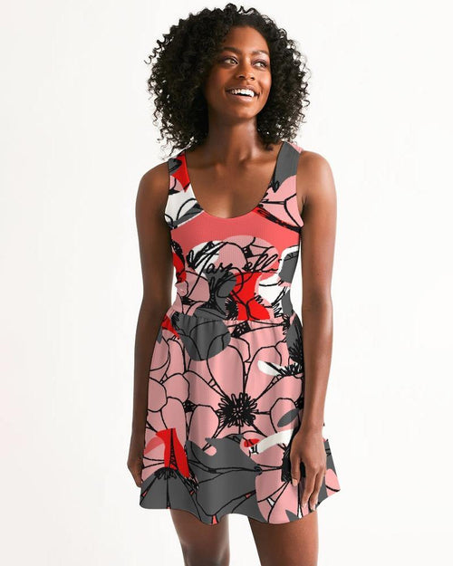 """Love vs. Hate"" Camo Petals Women's Scoop Neck Skater Dress - Marzelli"