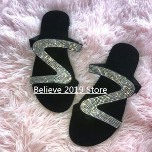 Free send 2019 new sandals women bright diamond casual outdoor travel flip flop beach shoes non-slip durable slippers