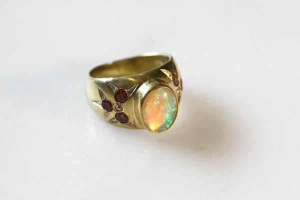 Gold and Opal Ring with Orange Sapphires