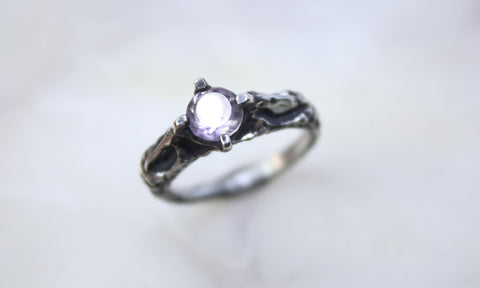 High Profile Silver and Amethyst Ring