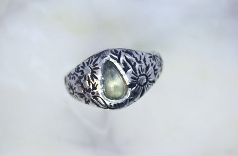 Floral Band with Pale Yellow Sapphire
