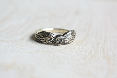 Dainty Winged Death's Head Ring