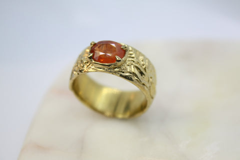 Floral Band With Large Orange Sapphire