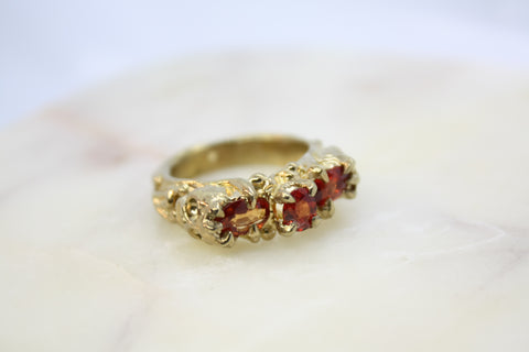 Bright Orange Sapphire Ring with Memento Mori Skulls