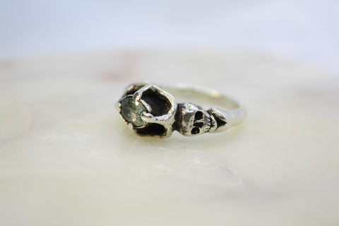 Handmade Skull Ring with Pale Green Sapphire