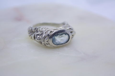 Lion Signet Ring with Aqua Blue Topaz