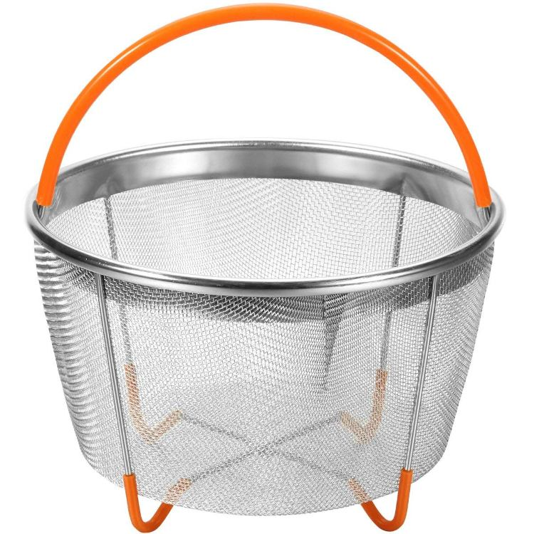 STAINLESS STEEL STEAMER BASKET WITH SILICONE HANDLE
