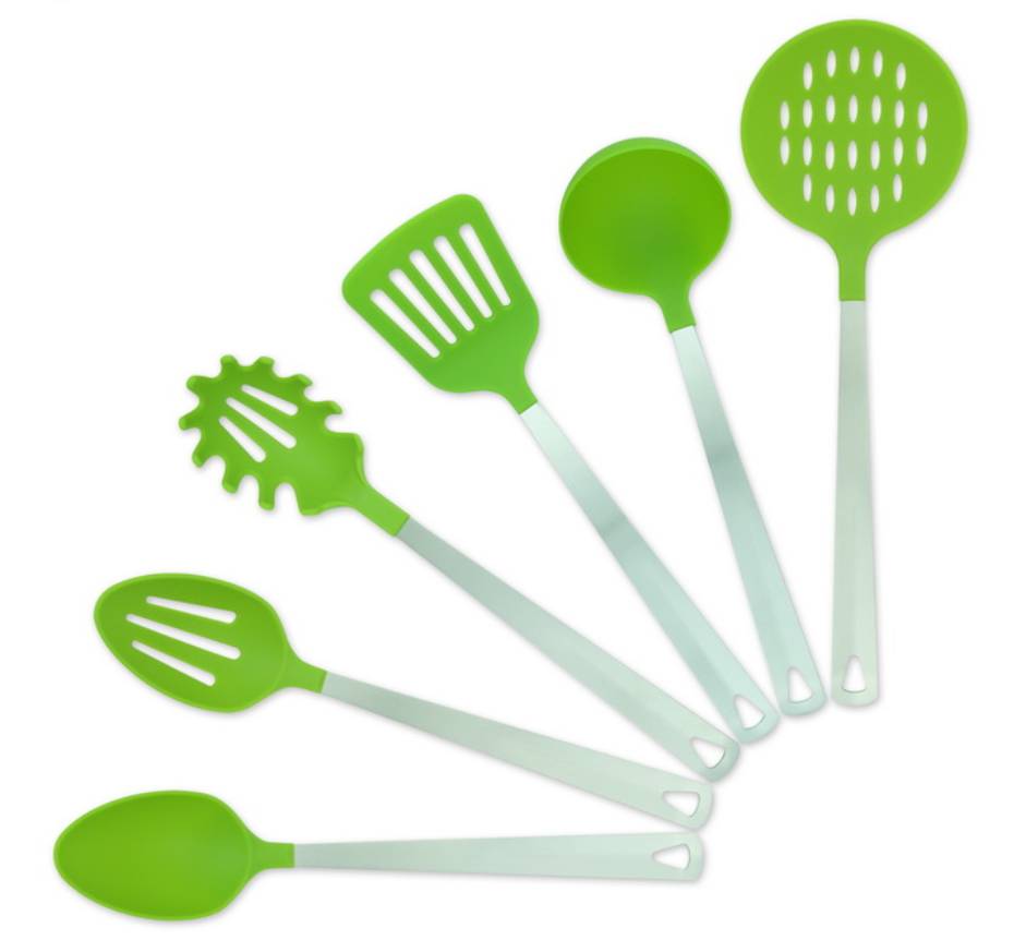 KITCHEN NYLON SLOTTED TURNER & BASTING SPOON SET
