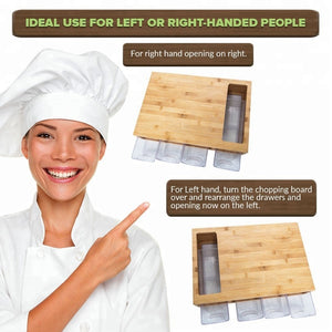WOODEN BAMBOO SLIDING TRAY WITH CUTTING BOARD