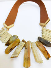Load image into Gallery viewer, bloomandthebee,Flat Stone Leather Show Piece,Bloom and The Bee ,necklace