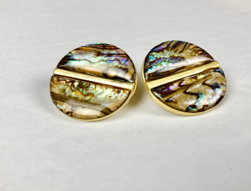 Abalone Shell Button Earrings