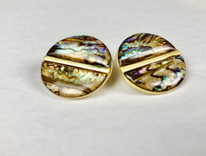 bloomandthebee,Abalone Shell Button Earrings,Bloomandthebee,