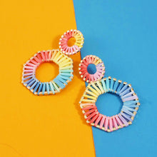 Load image into Gallery viewer, Hexagon Rainbow Earrings
