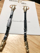 Load image into Gallery viewer, bloomandthebee,Charmed Hematite & Gold Snake Earrings,Bloom and The Bee ,earrings