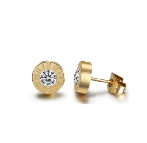 The Time Is NOW! Crystal Roman Numeral Studs