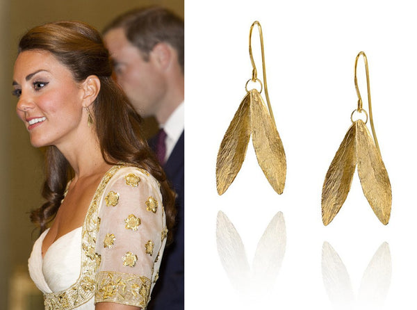 Kate Middleton Duchess of Cambridge wears Catherine Zoraida Double Leaf Earrings Royal Tour Malaysia