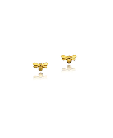 Gold vermeil Honey Bee Stud Earrings by jewellery designer Catherine Zoraida