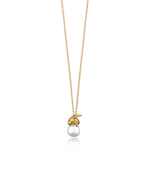 Gold Honey Bee and Pearl Pendant by British jeweller Catherine Zoraida.