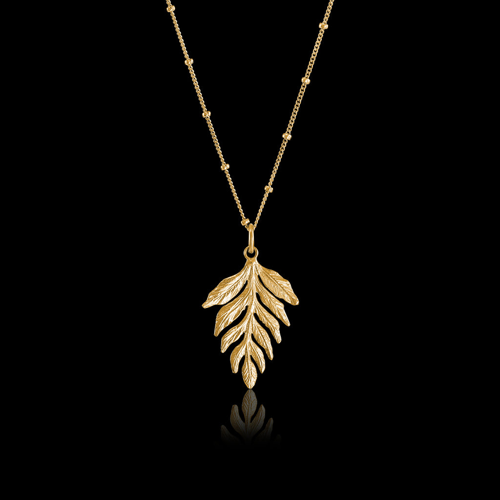 Gold Fern Drop Pendant | Zoraida London Jewellery