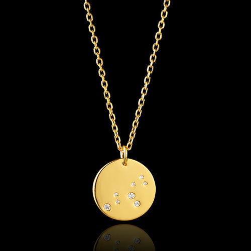 Gold Aquarius Zodiac Pendant