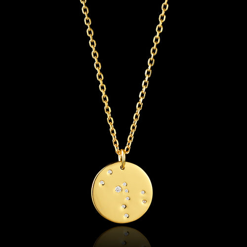 Gold Swallow Disc Pendant