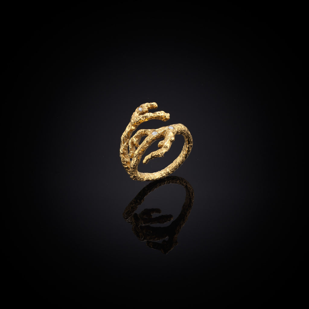 Unique Gold Apple twig and cubic zirconia ring by jewellery designer Catherine Zoraida London