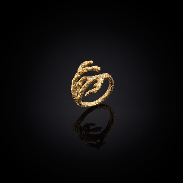 Unique Gold Apple twig and diamond ring by jewellery designer Catherine Zoraida London