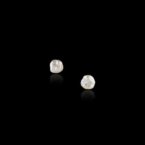 Silver Moonlight Pearl Stud Earrings