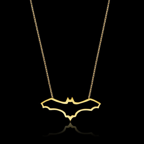 Gold plated Fruit Bat Necklace by jewellery designer Catherine Zoraida