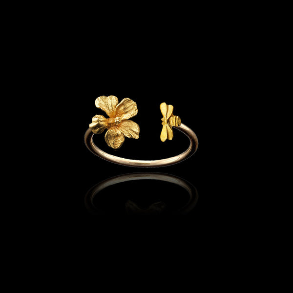 Gold Honey Bee and Hibiscus design ring by Catherine Zoraida.