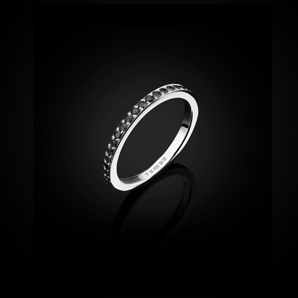 Black Diamond and White Gold Eternity Ring by British Jewllery Designer Catherine Zoraida