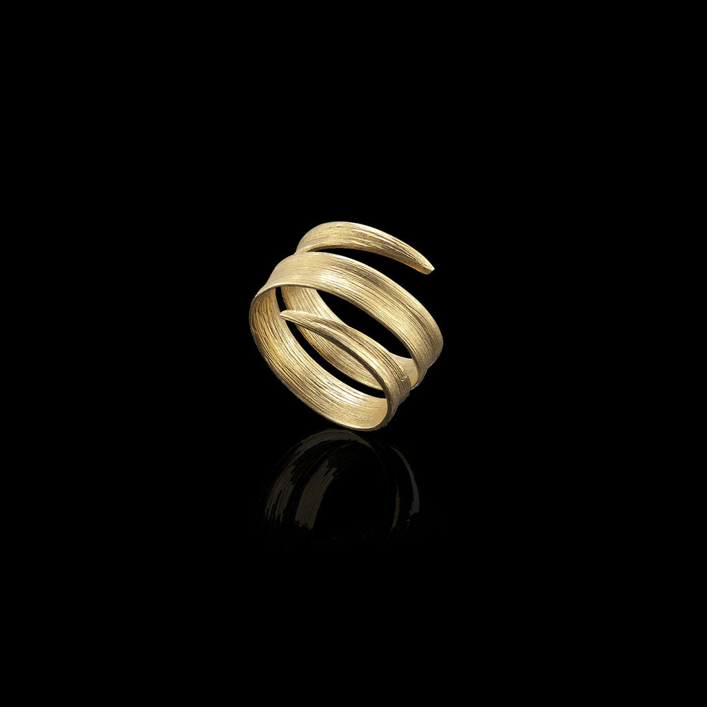 Gold Blade of Grass Ring by UK designer Catherine Zoraida
