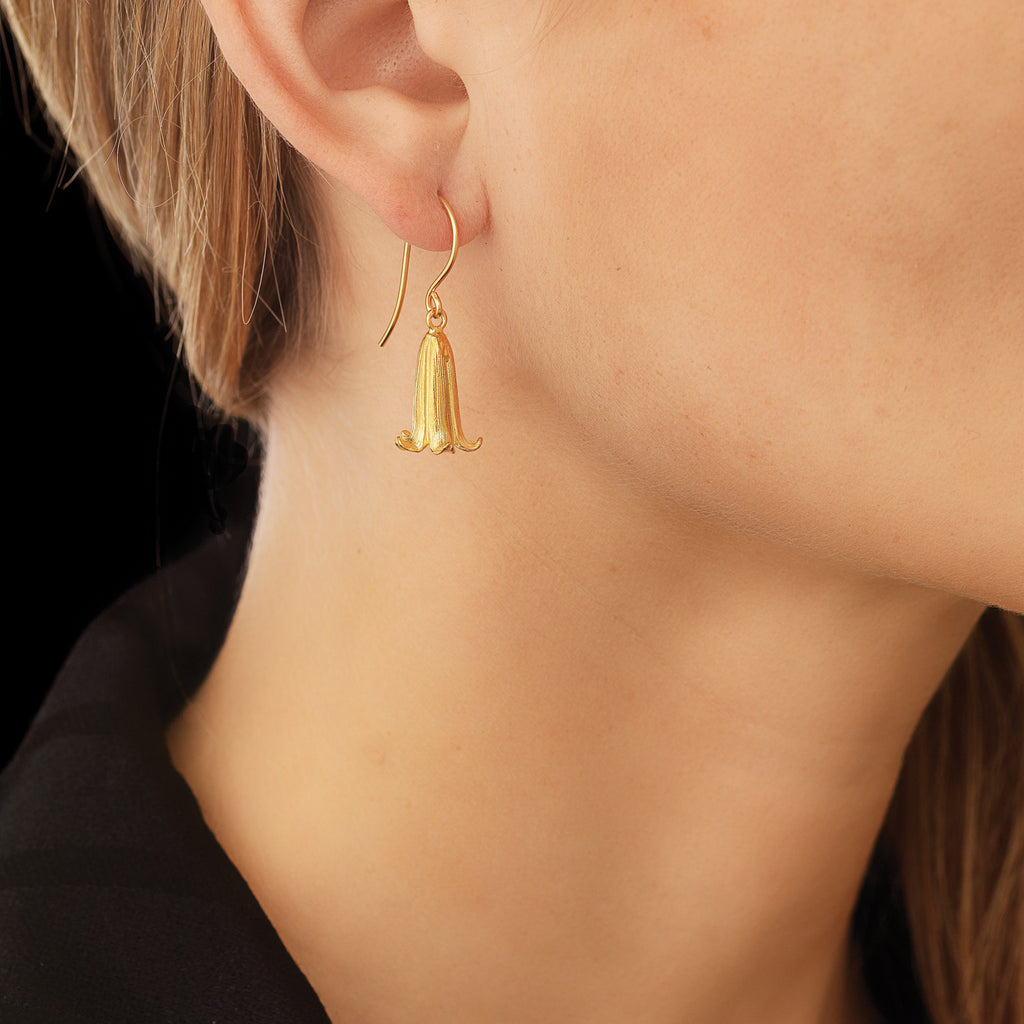Delicate Gold Bluebell Earrings by Catherine Zoraida. Modelled by fashion blogger Lucy Williams