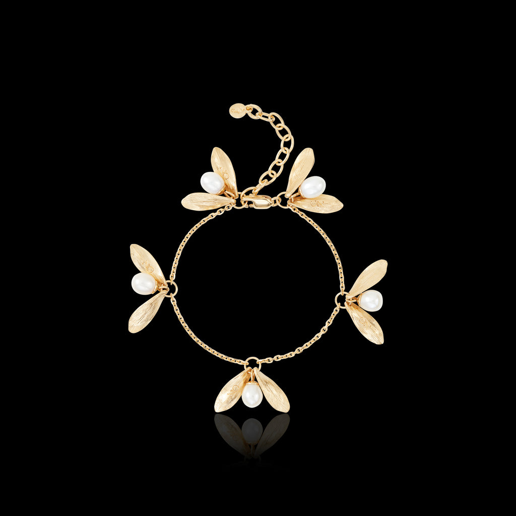 Gold Double Leaf and Pearl Bracelet by Catherine Zoraida