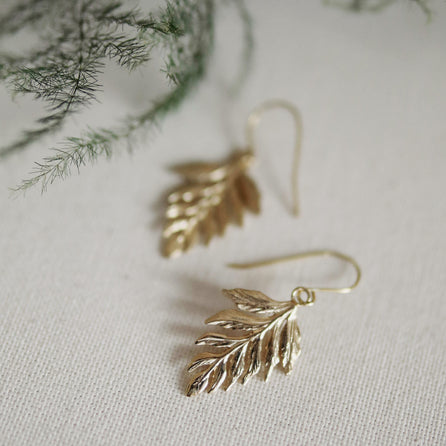 Talia Richman wears Catherine Zoraida Gold Fern Drop Earrings