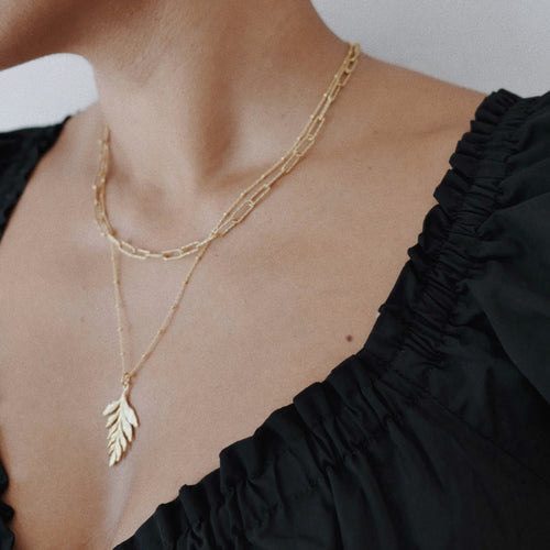 Catherine Zoraida Gold Fern Drop Pendant