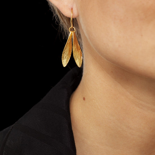 Catherine Zoraida Gold Double Leaf Earring worn by Lucy Williams