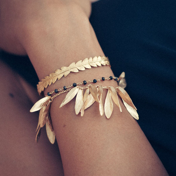 Rocky Barnes wears Catherine Zoraida Gold Leafy Jingle Bracelet