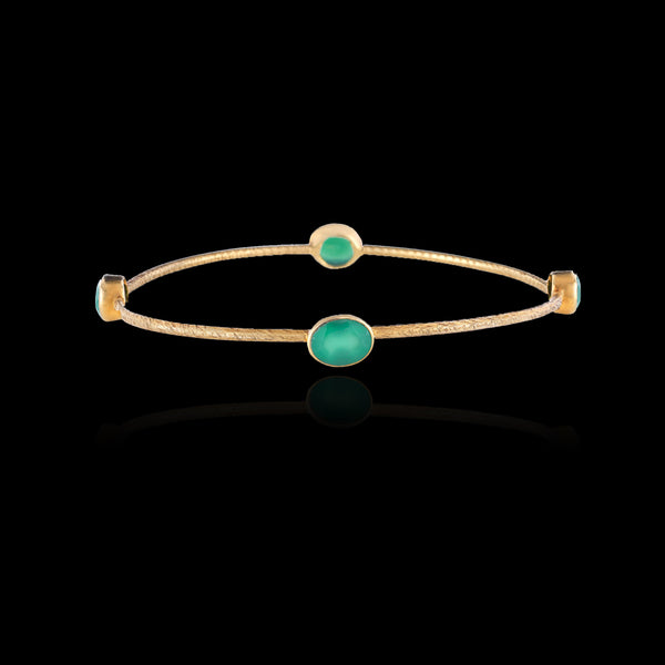 Chrysoprase green ray bangle by Zoraida Jewellery